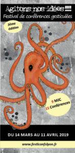 Couverture Plaquette 3e Festival de conférences gesticulées de Lyon - 14 mars au 11 avril 2019