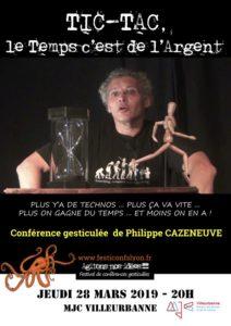 Affiche Conf TICTAC - Philippe Cazeneuve - MJC Villeurbanne 28 mars 2019